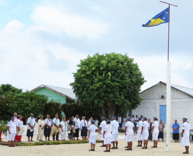 Newly elected Council members at the flag raising for the Inauguration of the Ulu o Tokelau ceremony-708